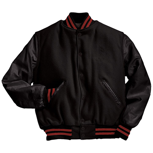 School Spirit Builders Varsity Jackets Wool-Leather Black-Black-Scarlet M