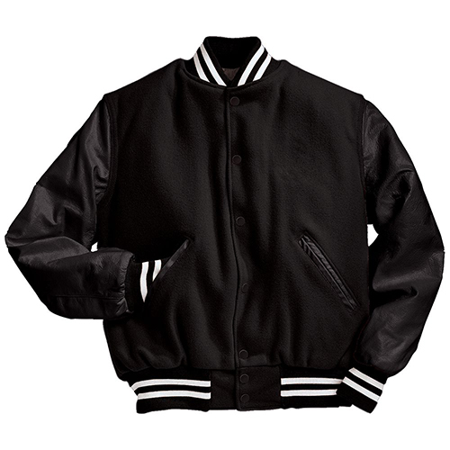 School Spirit Builders Varsity Jackets Wool-Leather Black-Black-White M