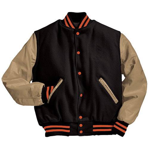 School Spirit Builders Varsity Jackets Wool-Leather Black-Cream-Orange M
