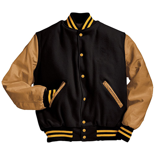 School Spirit Builders Varsity Jackets Wool-Leather Black-Light Gold-Light Gold M