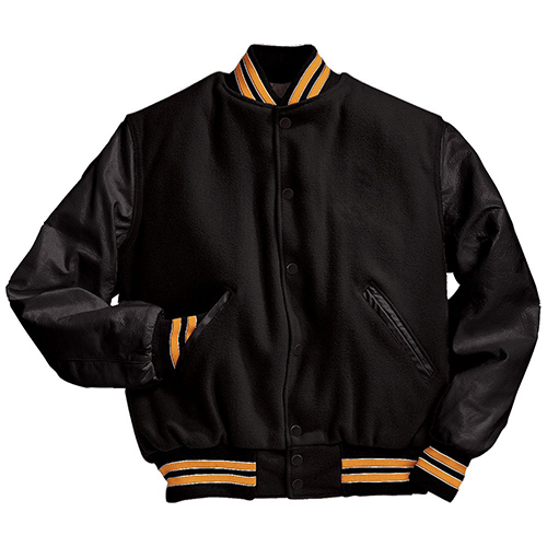 School Spirit Builders Varsity Jackets Wool-Leather Black-Light Gold-White M