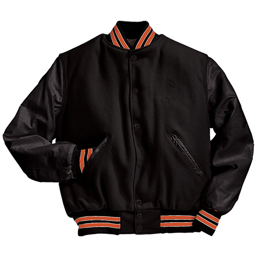 School Spirit Builders Varsity Jackets Wool-Leather Black-Orange-White M