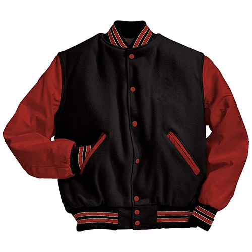 School Spirit Builders Varsity Jackets Wool-Leather Black-Scarlet-Scarlet M