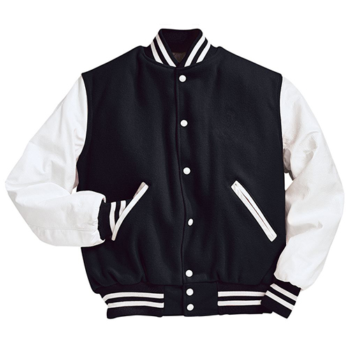 School Spirit Builders Varsity Jackets Wool-Leather Black-White M