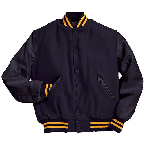 School Spirit Builders Varsity Jackets Wool-Leather Dark Navy-Dark Navy-Light Gold M