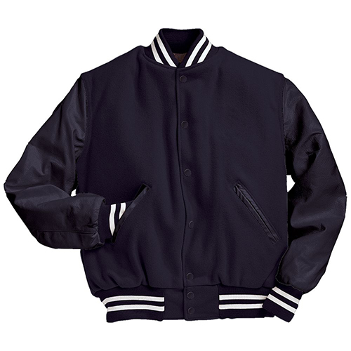 School Spirit Builders Varsity Jackets Wool-Leather Dark Navy-Dark Navy-White M
