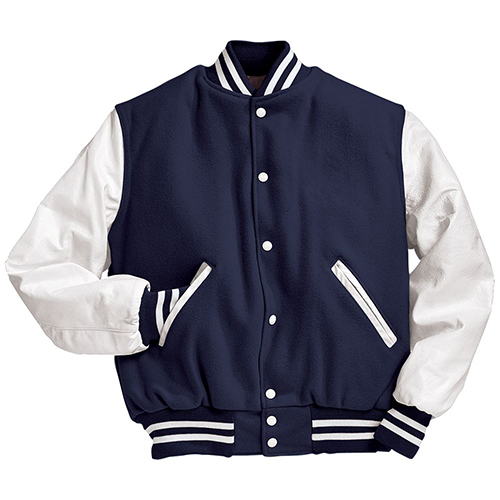 School Spirit Builders Varsity Jackets Wool-Leather Dark Navy-White M