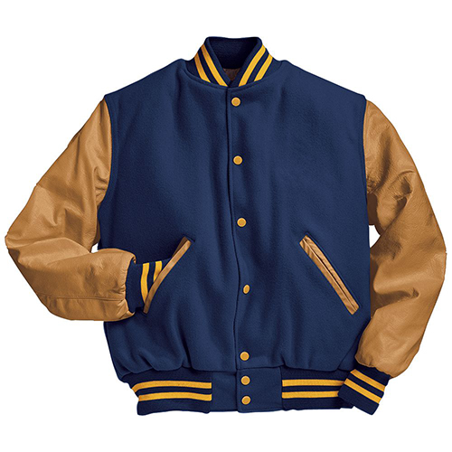 School Spirit Builders Varsity Jackets Wool-Leather Dark Royal-Light Gold M