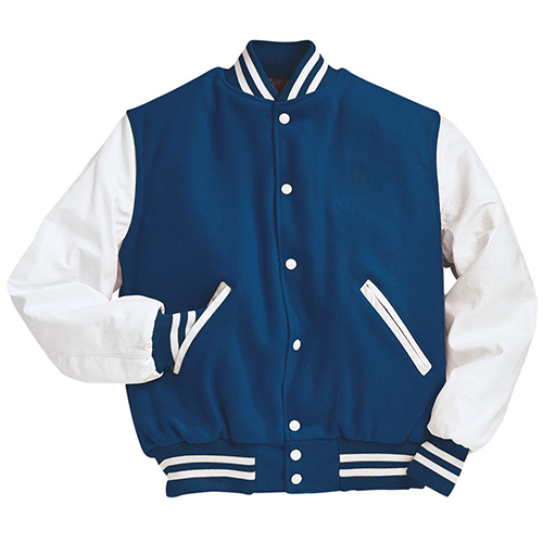 School Spirit Builders Varsity Jackets Wool-Leather Dark Royal-White M