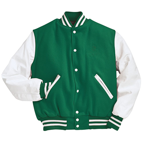 School Spirit Builders Varsity Jackets Wool-Leather Kelly-White M