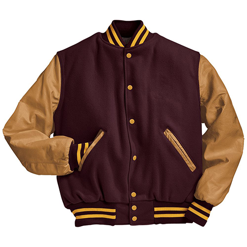 School Spirit Builders Varsity Jackets Wool-Leather Maroon-Light Gold M