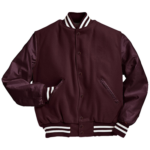 School Spirit Builders Varsity Jackets Wool-Leather Maroon-Maroon-White M