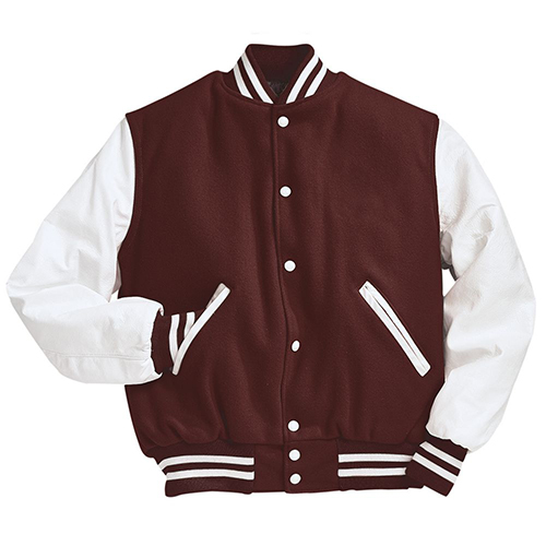 School Spirit Builders Varsity Jackets Wool-Leather Maroon-White M