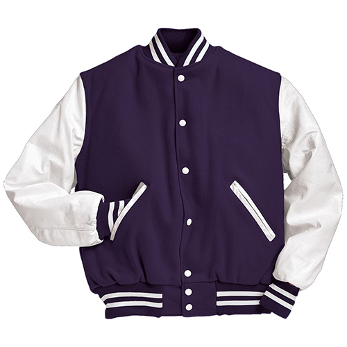 School Spirit Builders Varsity Jackets Wool-Leather Purple-White M