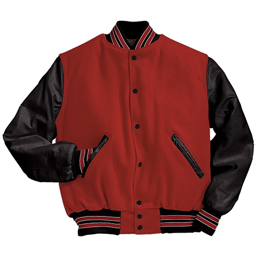 School Spirit Builders Varsity Jackets Wool-Leather Scarlet-Black-White M