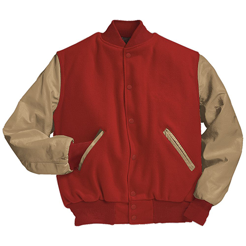 School Spirit Builders Varsity Jackets Wool-Leather Scarlet-Cream M