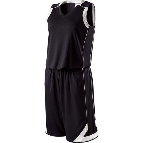 School Spirit Builders Basketball Carthage Jersey and Short Black-White