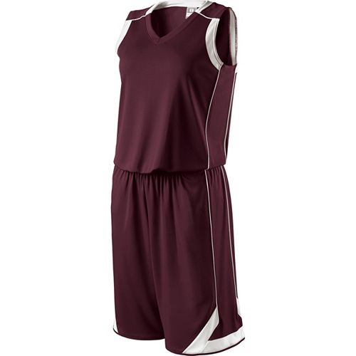 School Spirit Builders Basketball Carthage Jersey and Short Dark Maroon-White