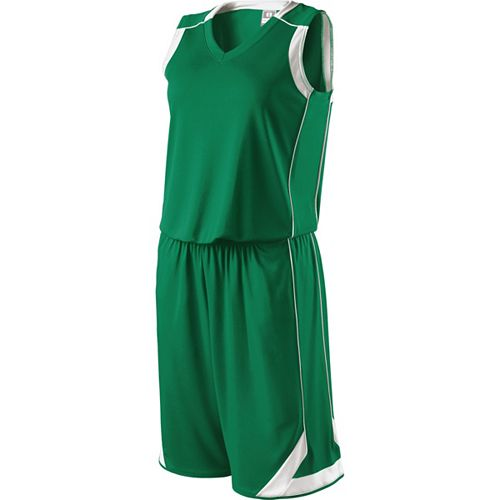 School Spirit Builders Basketball Carthage Jersey and Short Kelly-White