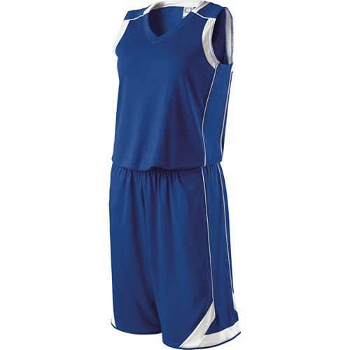 School Spirit Builders Basketball Carthage Jersey and Short Royal-White