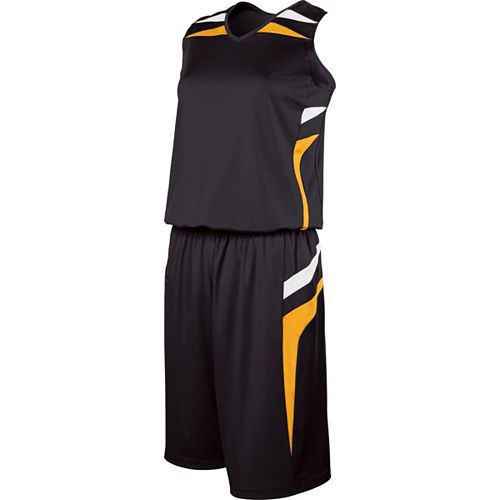 School Spirit Builders Basketball Prodigy Jersey and Short Black-Light Gold-White