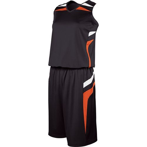 School Spirit Builders Basketball Prodigy Jersey and Short Black-Orange-White