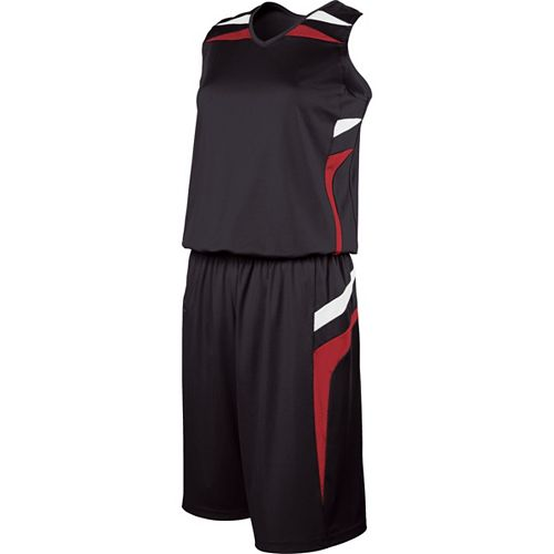 School Spirit Builders Basketball Prodigy Jersey and Short Black-Scarlet-White