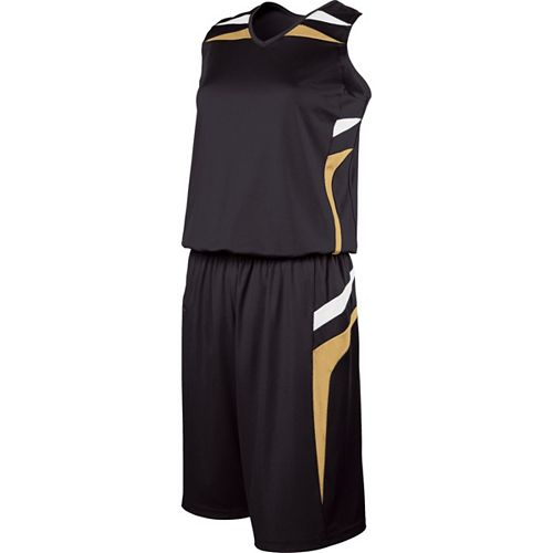 School Spirit Builders Basketball Prodigy Jersey and Short Black-Vegas Gold-White