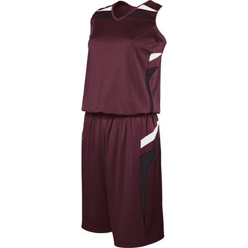 School Spirit Builders Basketball Prodigy Jersey and Short Dark Maroon-Black-White