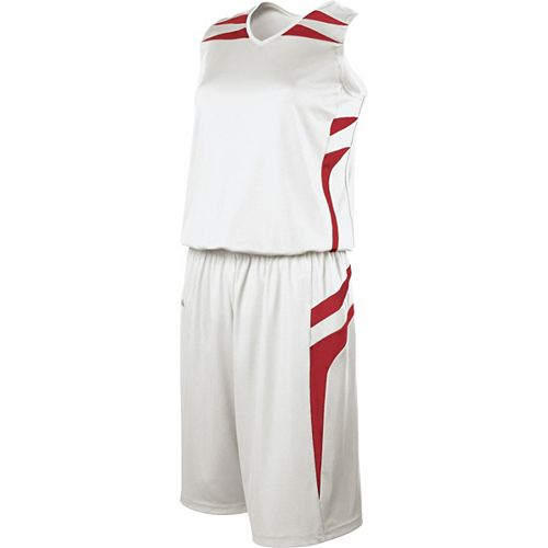 School Spirit Builders Basketball Prodigy Jersey and Short White-Scarlet-Scarlet